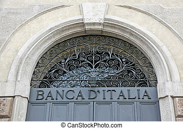 written Bank of Italy with the iron door closed