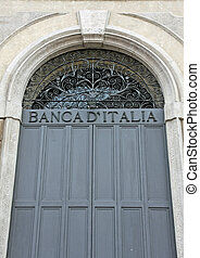 sturdy door closed steel bank of Italy