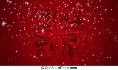 Snowflakes are falling against a red flourish pattern...