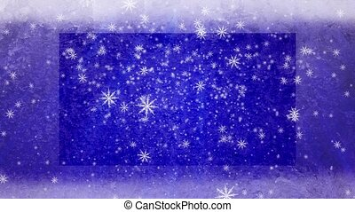 Snowflakes are falling against a blue frosty background