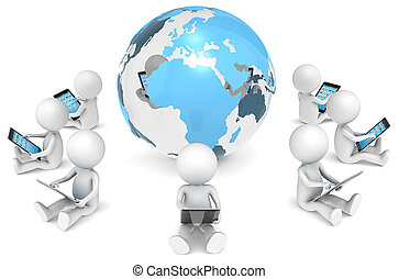 Social Network - 3D little human character X9 sitting, with...