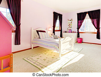 Pink girls bedroom interior with curtains and white bed.