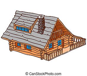 Isolated Wooden Cabin - Brown country house isolated on...