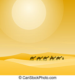 Caravan With Sand Dunes - Layers of visible sand hills and...