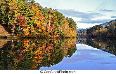 colori, lago, rispecchiato, cadere