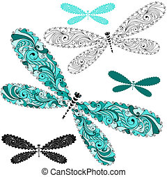 Set lace vintage dragonflies - Set turquoise and black-white...