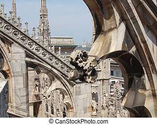 Duomo, Milan - Duomo di Milano gothic cathedral church,...
