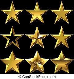 Vector set of golden shiny stars bulk - volume shiny gold...