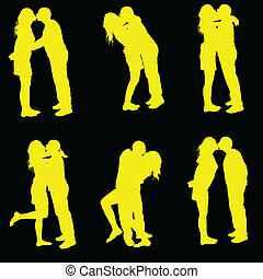 couple kissing yellow silhouette on black background