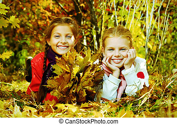 happy childhood - Portrait of two cute girls sisters posing...