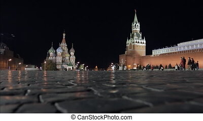 Night Red Square Kremlin St Basils Cathedral