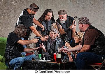 Biker Gang Robbery - Group of male and female biker gang...