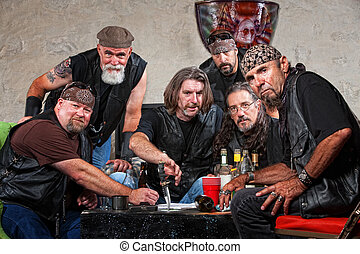 Tough Biker Gang with Weapons - Tough group of Caucasian...