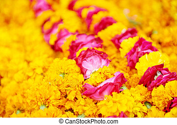 Indian traditional orange flowers garland - Indian...
