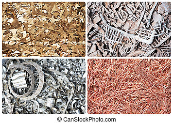 Set of metal scrap materials recycling background - Set of...