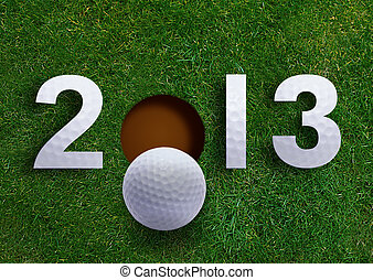 Happy new year 2013, Golf sport conceptual image