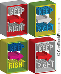 3d Keep right sign