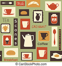 Retro pattern with kitchen dishes for breakfast - Vector...