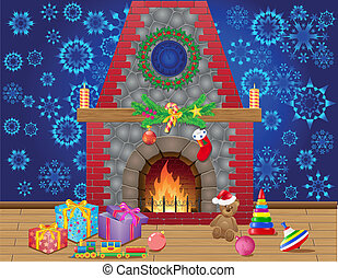 fireplace room with christmas gifts and decorations vector...