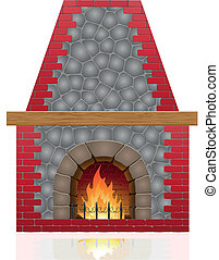 fireplace vector illustration isolated on white background