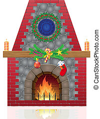 fireplace with christmas decorations vector illustration...
