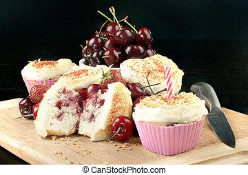 muffin, horizontais, cereja, vela, moranguinho