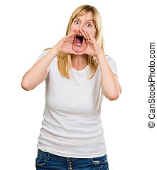 Portrait of a crazy woman shouting against a white...