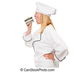 Female Chef Holding Tin Shouting On White Background