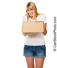 Woman Holding Cardboard Package On White Background