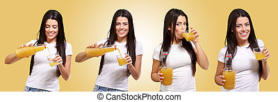 Sequence Of Women Drinking Juice On Yellow Background