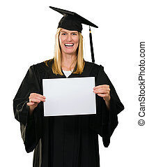 Graduate Woman Holding a blank paper against a White...
