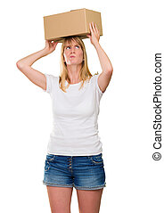 woman holding a box on her head against a white background