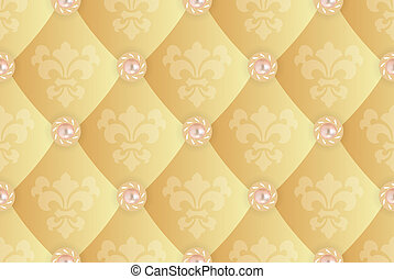 Seamless background with Fleur de lis on a yellow.