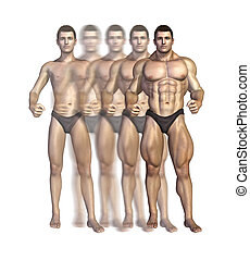 Bodybuilders Transformation - Illustration depicting a...