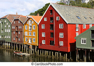 trondheim buildings - famous storehouses on river side of...