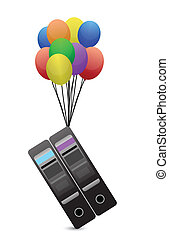 Servers flying away by balloons illustration