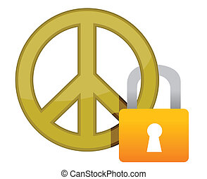 peace sign with a padlock illustration