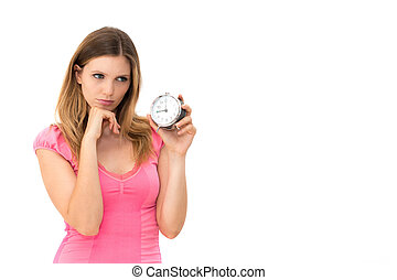 woman holding a clock - Wait,young beautiful woman holding a...