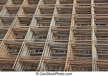 set of iron mesh for concrete casting in the construction site