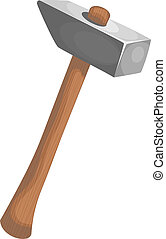 Cartoon illustration of a hammer. eps10