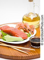 Traditional Japanese food Sushi Sushi collection with...