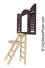 Step Ladder Next to Window - Step Ladder used for reaching...