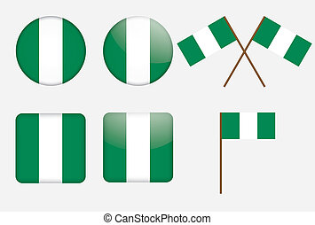 badges with flag of Nigeria