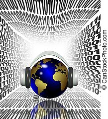 Internet listening - Earth globe with headphones surrounded...