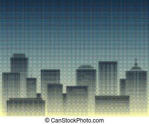 Halftone city - Halftone design of a city skyline