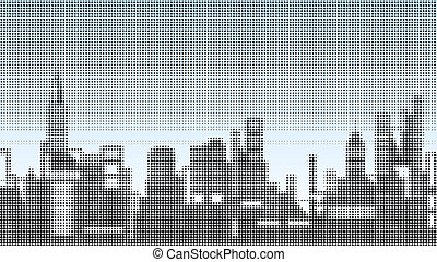 Halftone skyline - Halftone illustration of a city skyline
