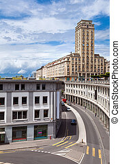 Lausanne, Switzerland - High-rise building in old town of...