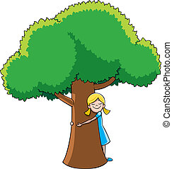 Tree Hugger - Little girl hugging tree No transparency and...