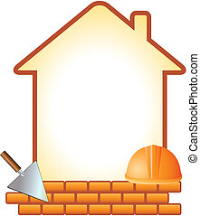 icon with helmet, trowel, bricks and house with space for...