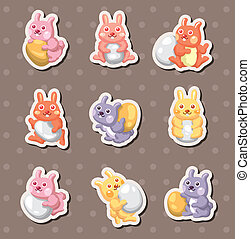 cartoon easter rabbit and egg stickers